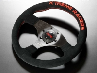J'S RACING XR Steering Type-F Suede / Red Stitch